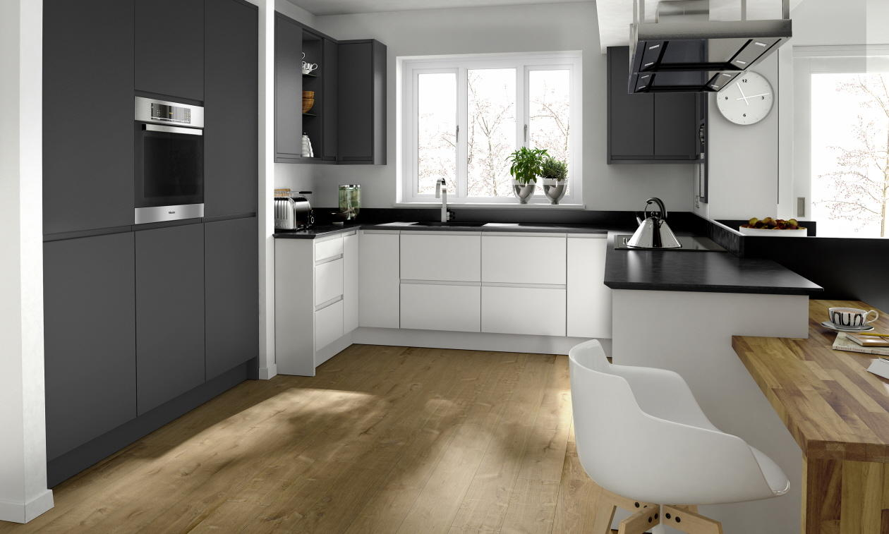 Remo Graphite Fitted Kitchen Number One Kitchens - Grey fitted kitchens