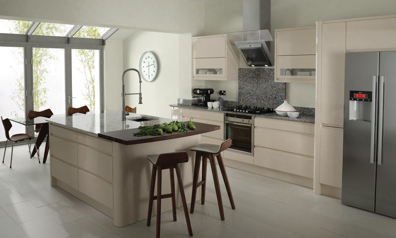Beige curved gloss kitchen & Remo Beige Fitted Kitchen | Number One Kitchens